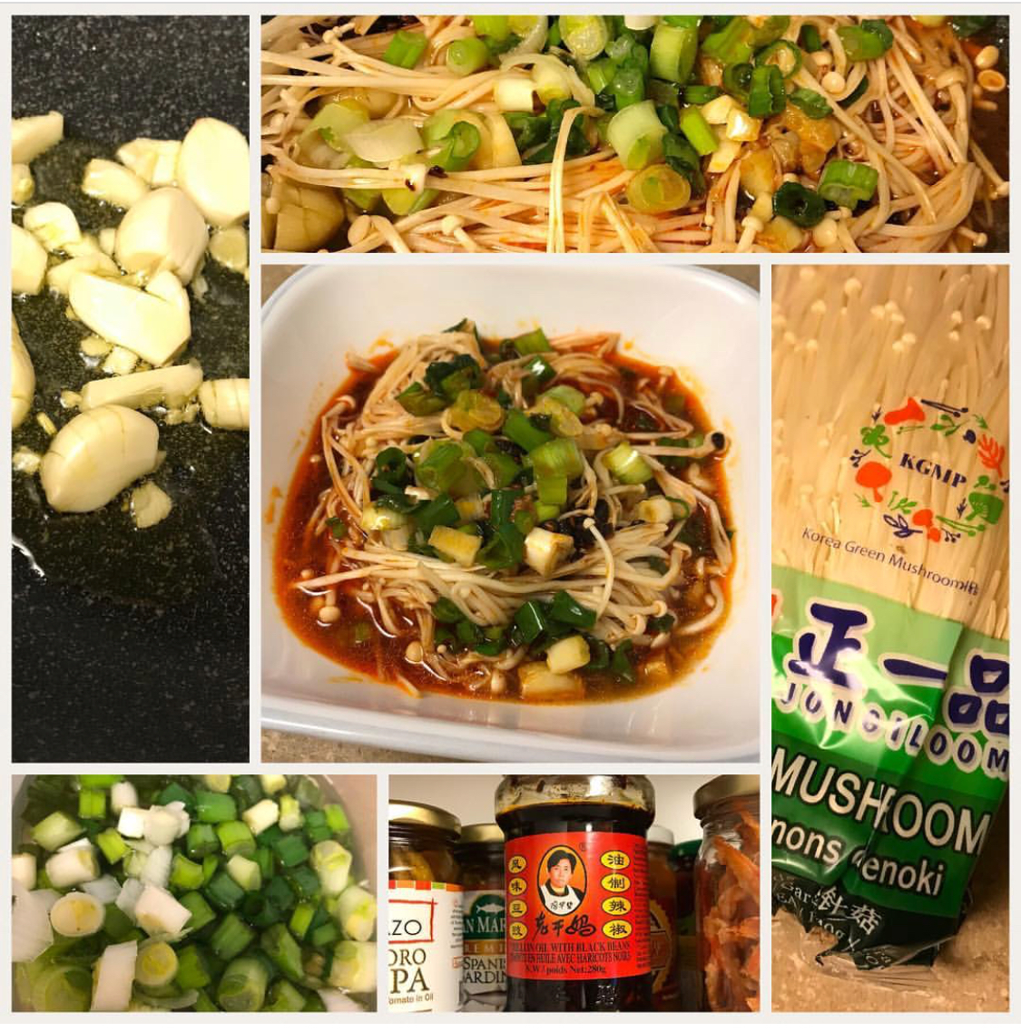 Stir fried Enoki with garlic, scallions and chilli black bean sauce